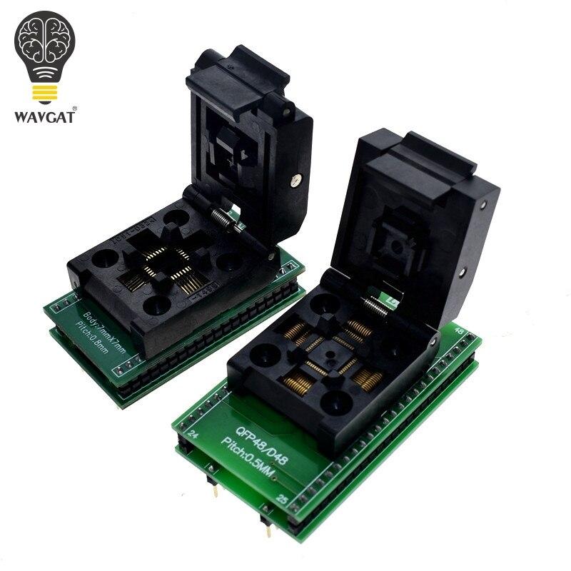 Qfp48 para dip48 tqfp32 qfp32 para dip3 ic soquete de teste 0.5mm picth lqfp48 para dip48 adaptador de programação/tqfp48 para dip48 adaptador