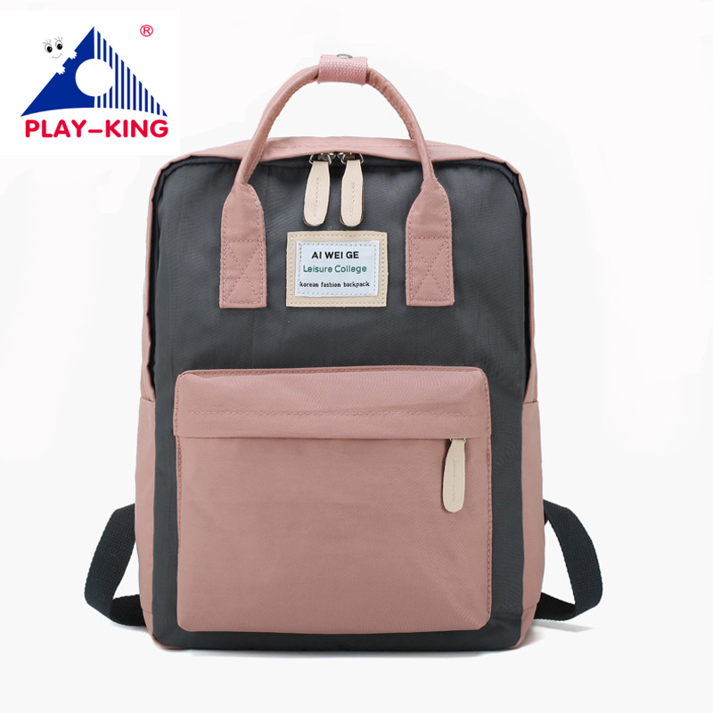 PLAY-KING Female Backpack Pink Laptop In Large Capacity For School Teenager Girls New Fashion Nylon Bag Back Women 2019 Travel