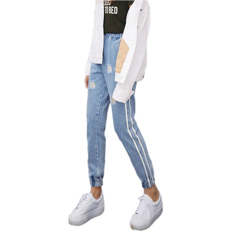 Новинка 2017 года Винтаж отверстия Джинсы для женщин Для женщин Повседневное джинсовые штаны сезон: весна–лето Высокая Талия рваные джинсы женские белые в полоску по бокам S-XXL
