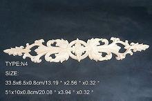 N4 -33.5×6.5×0.8cm Wood Carved Long Onlay Applique Unpainted Frame Door Decal Working carpenter Flower