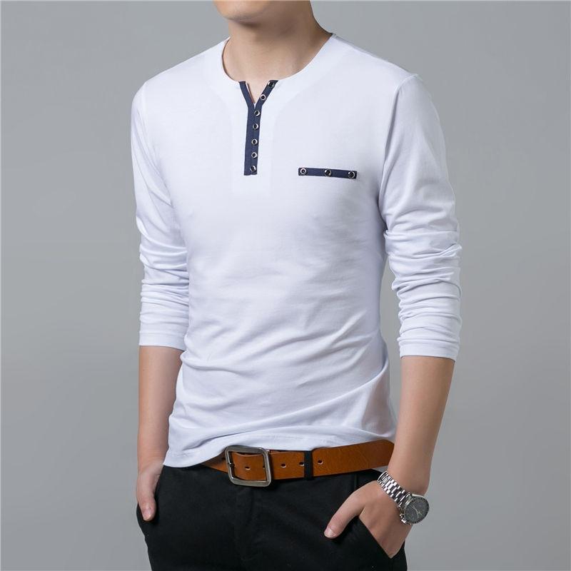 HTB1v74olTCWBKNjSZFtq6yC3FXaP - COODRONY Cotton T Shirt Men 2018 Spring Autumn New Long Sleeve T-Shirt Men Henry Collar Tee Shirt Men Fashion Casual Tops 7617