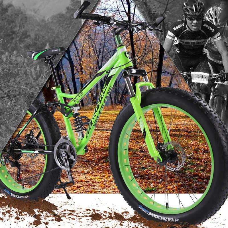 Lobo fang 21 velocidade 26 4.0 gordura quadro de bicicleta Mountain Bike bicicleta bicicletas bicicleta da Neve Mecânico Dianteiro e Traseiro disco Brade Masculino