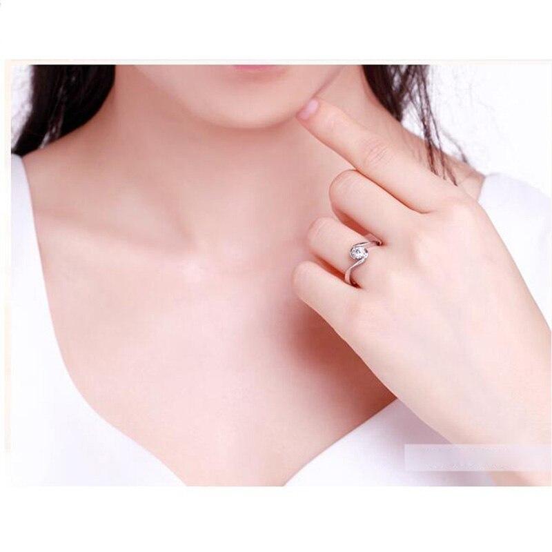 ANI 18 K or blanc (AU750) femmes bague de mariage 0.2 CT certifié I/SI taille ronde Solitaire diamant Design amoureux bagues de fiançailles - 3