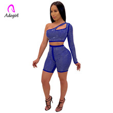 Royal Blue Women Suit Diamonds Sexy One Shoulder Cutout  2 Piece Suit Slash Neck Crop Top and Shorts Night Club Party Outfits cutout shoulder and back jumper