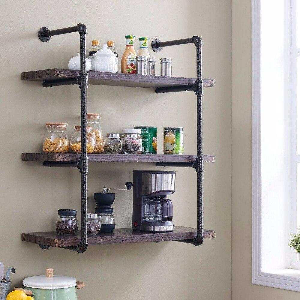US $129.0 |4 Layer Wall Mounted Vintage Industrial Pipe Shelf Living Room  DIY Decor Floating Shelf Hanging Metal Brackets Storage Bookcase-in ...