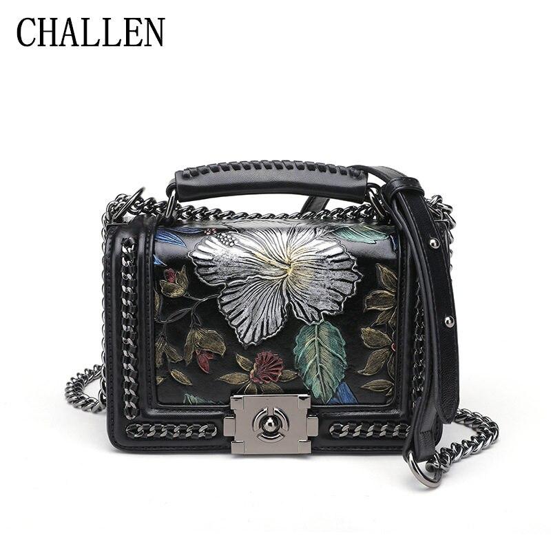 Women's handbags 2018 new Korean fashion atmosphere printing Ling chain chain bag simple shoulder diagonal bolsa feminina