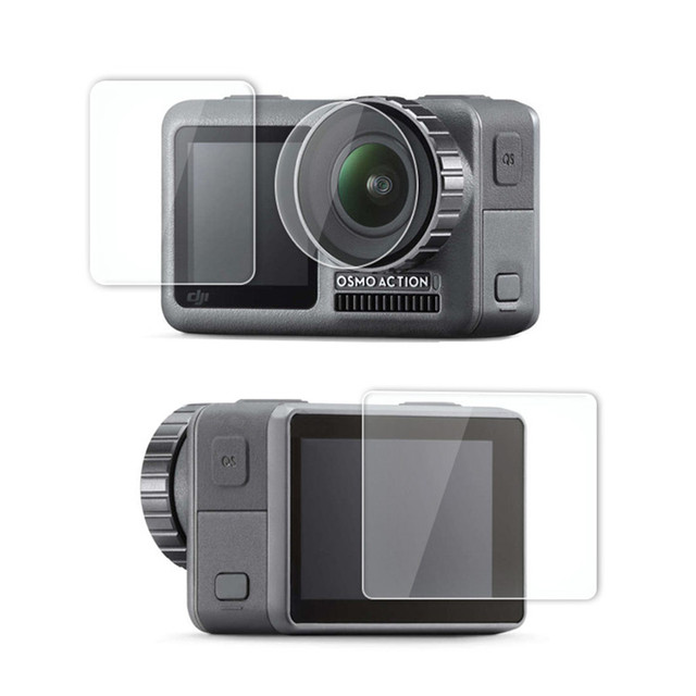 1 ensemble de Film Pet clair trempé double écran pour DJI OSMO + protecteur dobjectif pour DJI OSMO accessoires de caméra daction ultra mince L0525 DJ