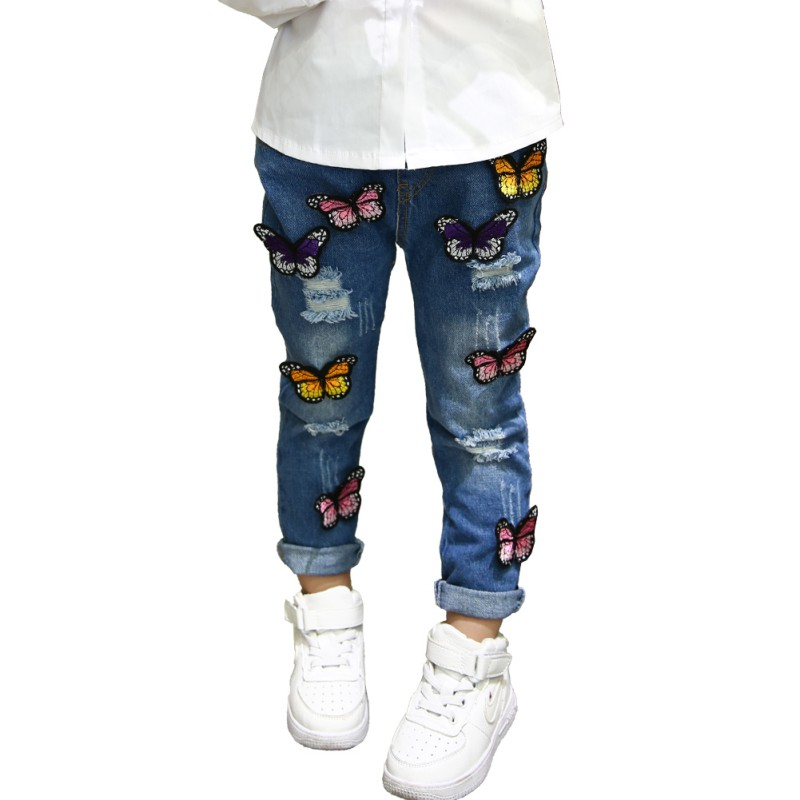 Fashion Baby Girls Butterfly Embroidery Jeans Pants Cool Denim Trousers Kids Girl's Casual Jeans Leggings Pant
