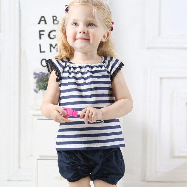 Baby Girl Roupas de Verão Infantis Meninas Navy Stripe Puff Luva Top Calções 2 Peças Conjunto de Roupas de Menina Recém-nascidos Outfits