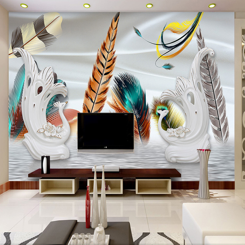 Custom Photo Wallpaper 3D Stereoscopic Peacock Feathers Large Murals Romantic Bedroom Living Room TV Backdrop Home Decor custom mural wallpaper european style 3d stereoscopic new york city bedroom living room tv backdrop photo wallpaper home decor