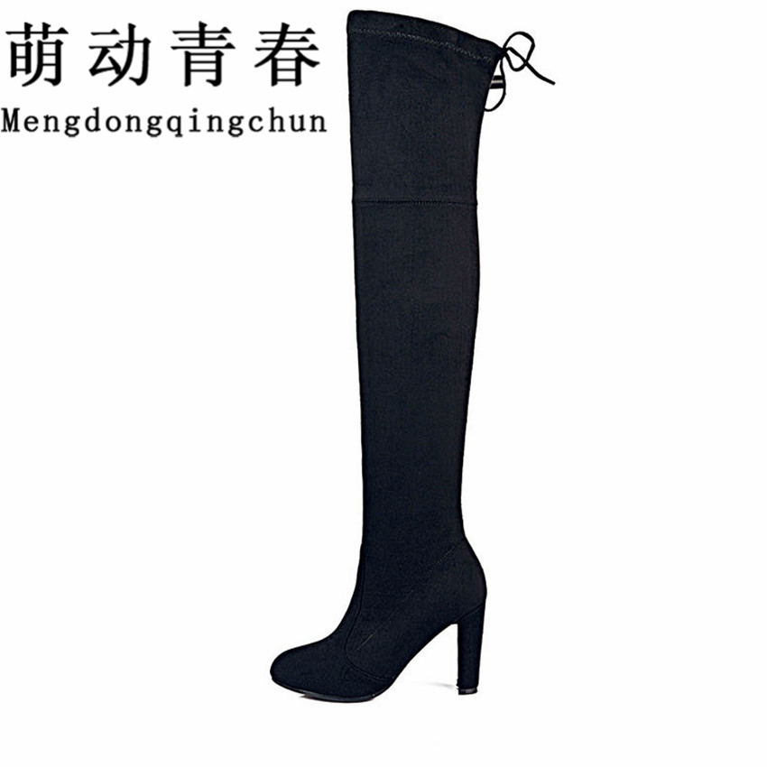 Women Stretch Faux Suede Slim Thigh High Boots Sexy Fashion Over the Knee Boots High Heels Woman Shoes Black Gray Winered hot fashion solid concise suede slim thigh high women boots over the knee winter high heels woman shoes