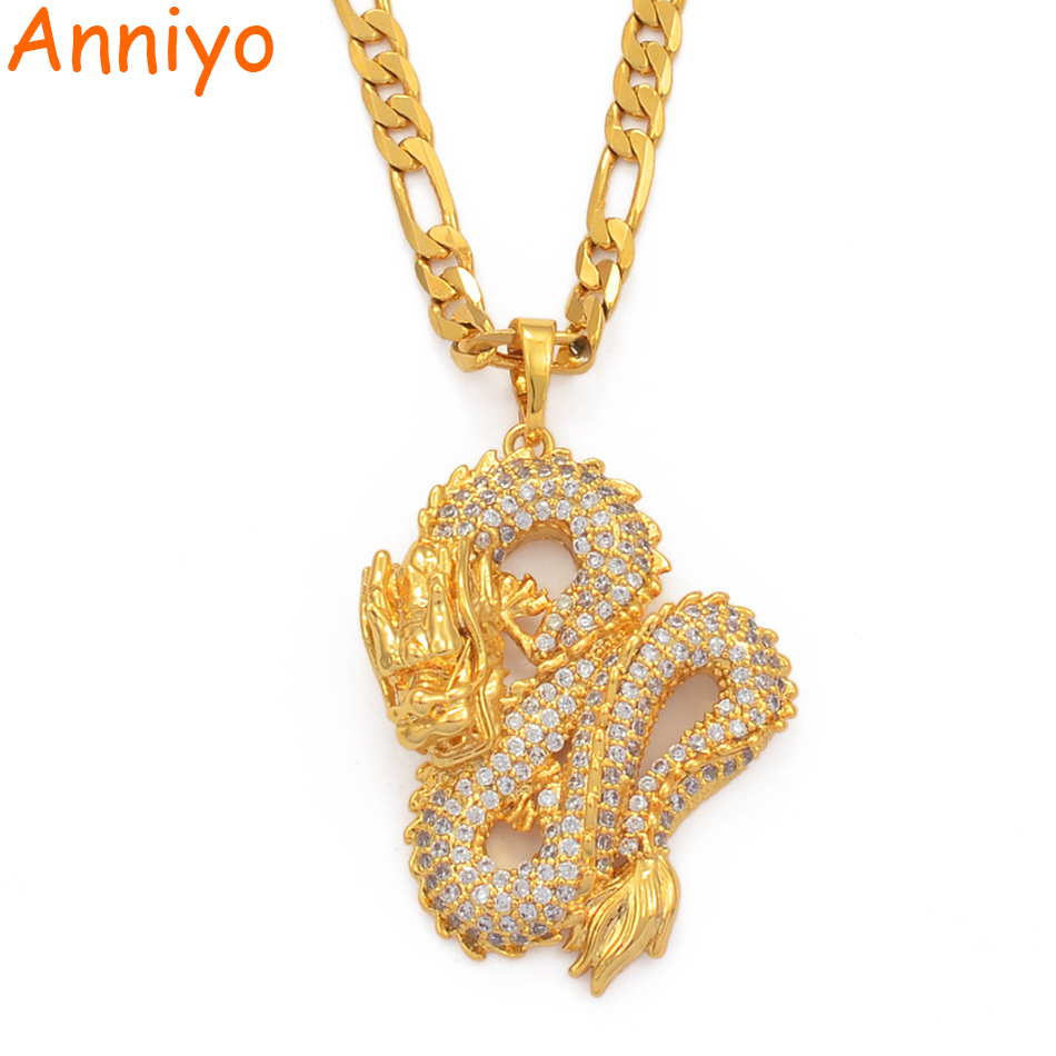 Anniyo Dragon Model Pendant Necklaces Women Men Gold Color Jewellery Cubic Zirconia Mascot Ornaments Lucky Symbol Gifts #067104(China)