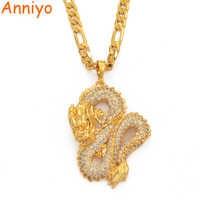 Anniyo Dragon Model Pendant Necklaces Women Men Gold Color Jewellery Cubic Zirconia Mascot Ornaments Lucky Symbol Gifts #067104