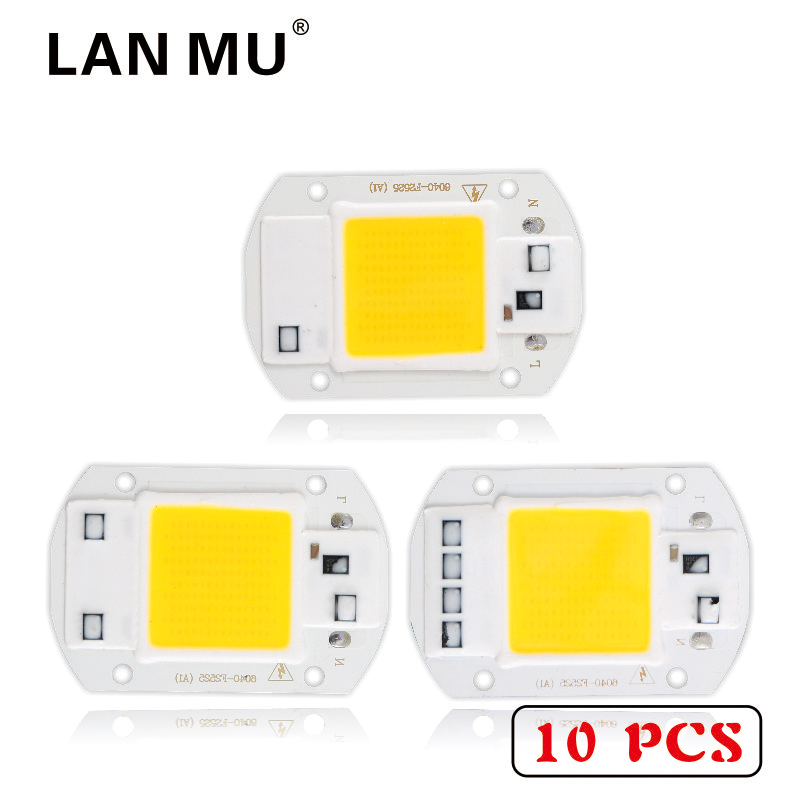 LAN MU 10 PCS LED COB Chip 50W 40W 30W 20W 10W AC 220V 110V No need driver Smart IC bulb lamp For DIY LED Floodlight Spotlight серьги divetro серьги