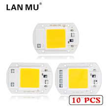 LAN MU 10 PCS LED COB Chip 50W 40W 30W 20W 10W AC 220V 110V No need driver Smart IC bulb lamp For DIY LED Floodlight Spotlight(China)