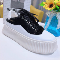 Fashion women off white shoes muffin bottom color sequined casual shoes Korean version net red thick bottom low Lefu Yasilaiya