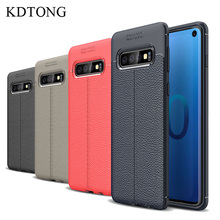KDTONG Case For Coque Samsung Galaxy S10E S10 Luxury Vintage Soft TPU Leather Cover Plus S 10