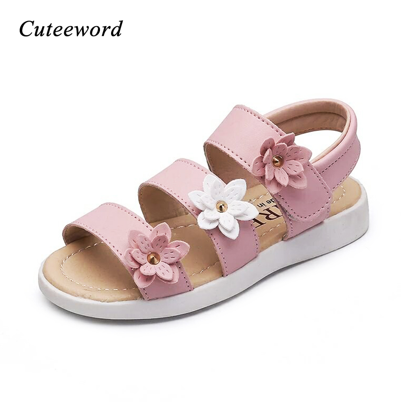 New Arrival Kids Soft Sole Beach Sandals Summer Fashion Children Girls Sandals Antislip Flats Toddler Three Flowers Rome Shoes
