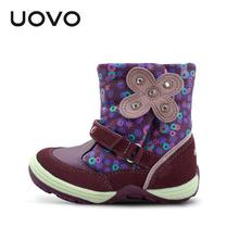 UOVO Famous Brand Boots Fashion Little Kids Shoes Botas Zapatillas High Quality Purple Red Suede Boots Toddler Flats Short Boots