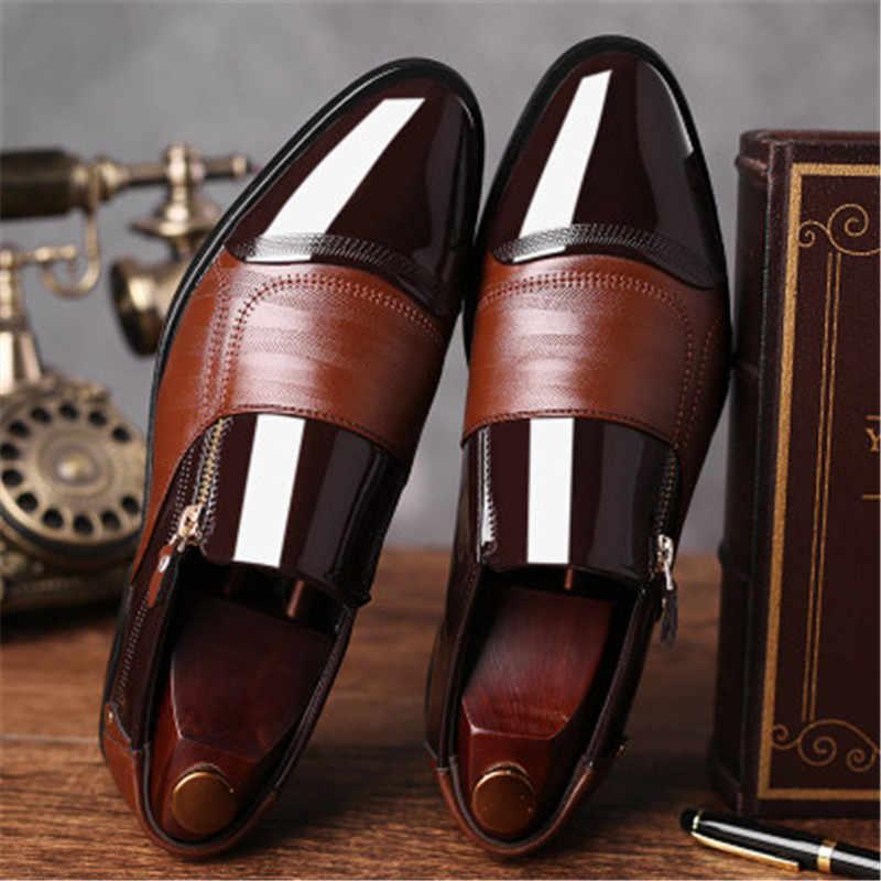 Lüks marka klasik erkek sivri elbise ayakkabı erkekler rugan siyah düğün ayakkabı Oxford ayakkabı büyük boy dans ayakkabı