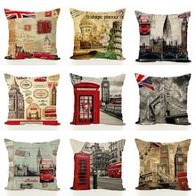 Good quality 10 style 45x45cm Print Pillow Cases Linen Cotton Sofa Cushion Cover Home Decor Bed Car Throw Case