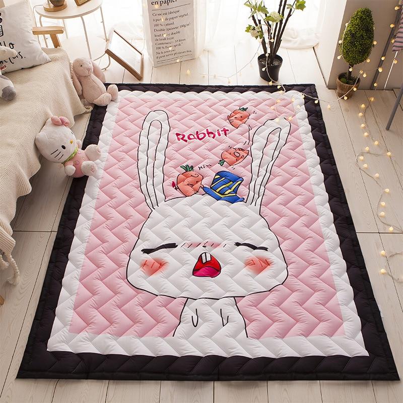 WINLIFE Cartoon Cotton Anti-Slip Floor Rug Children Folding Mat Soft Baby Playing Crawling Rug Carpet