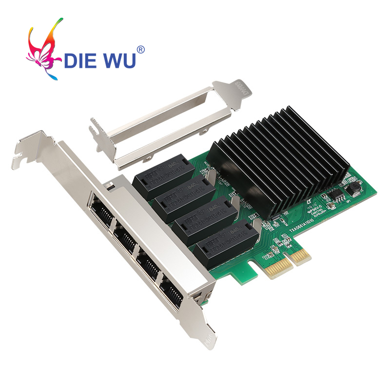 PCI-E PCI Express Network Card 4 RJ45 Port 4 Port Gigabit Network Card Realtek 8111H TXA066 Win 7 Laptop  Ethernet
