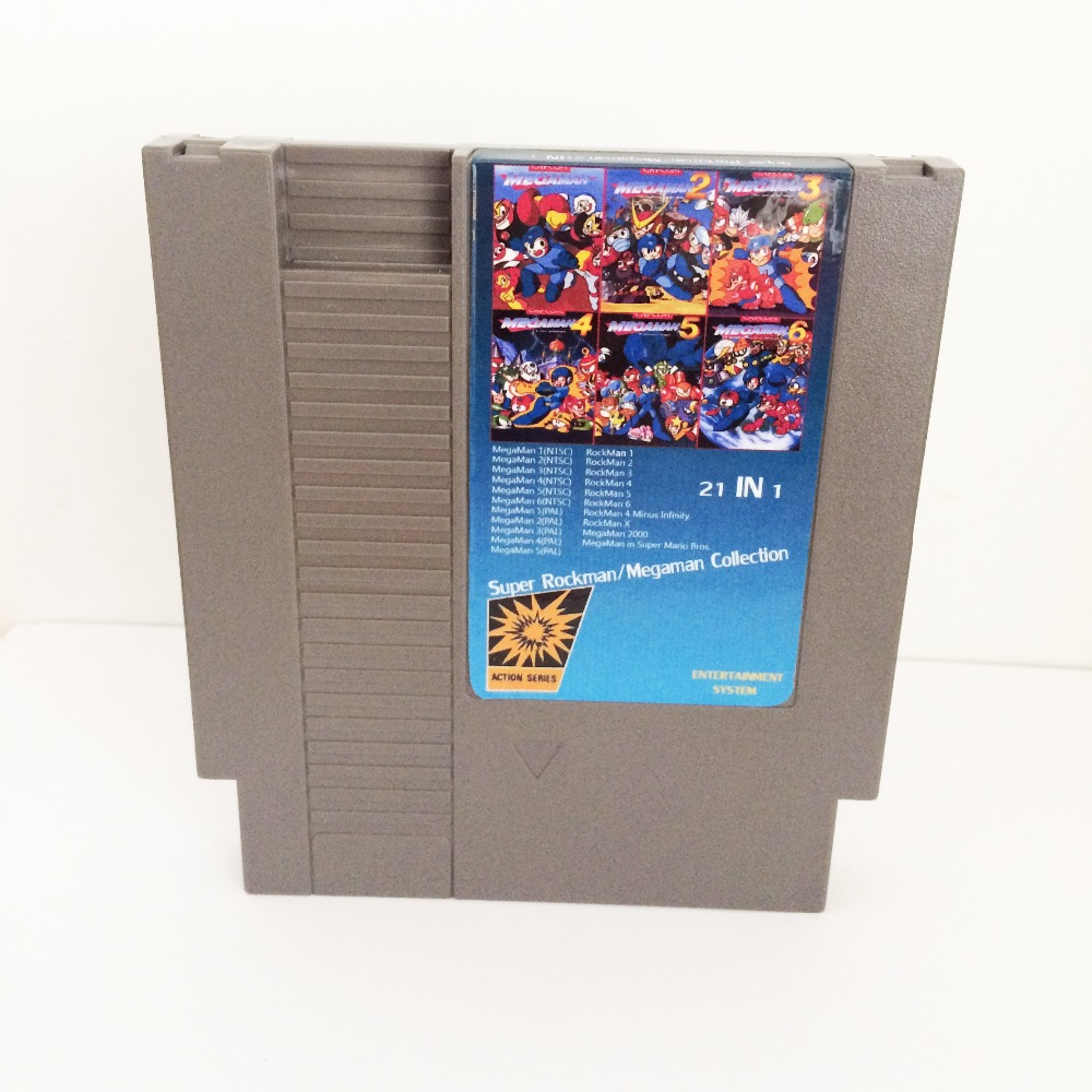 Super Rockman/Megaman Collection 21 In 1 72 Pins Game Card For 8 Bit Game Player