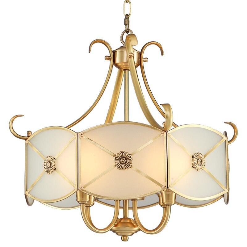 Full copper chandelier European restaurant bar counter American bedroom study luxury bronze chandelier CL ZL292