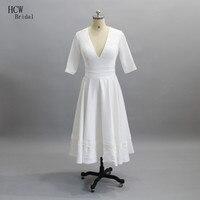 Simple White Satin Wedding Dress Half Sleeve V Neck Tea Length Short Wedding Gowns 2017 Cheap