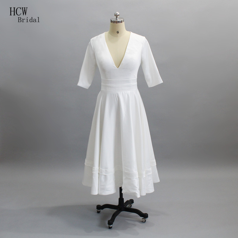 Cheap Wedding Gowns With Sleeves: Simple White Satin Wedding Dress Half Sleeve V Neck Tea