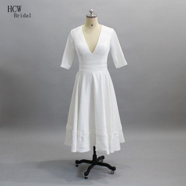 af5a4fc6a0f8ed Simple White Satin Wedding Dress Half Sleeve V Neck Tea Length Short Wedding  Gowns 2019 Cheap Bridal Dresses Fast Shipping