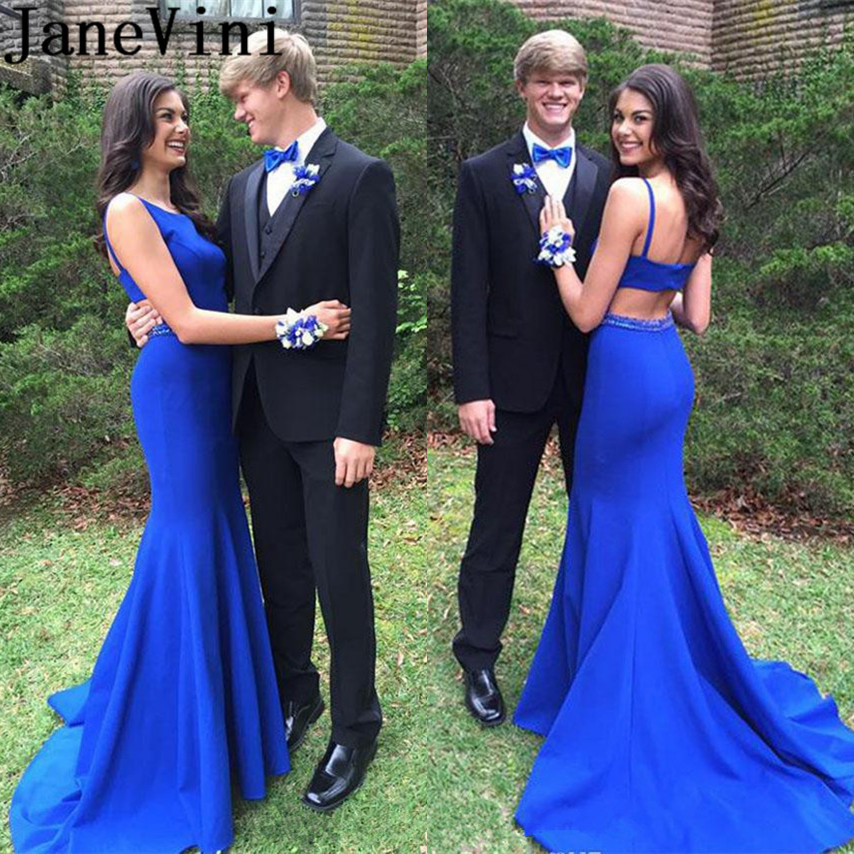 JaneVini Royal Blue Long   Prom     Dresses   2019 Mermaid Beaded Graduation   Dress   Backless Satin Sweep Train Cutaway Sides Party Wear