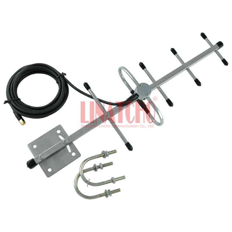 1.2ghz stainless steel 5 elements yagi 3 meters rg58 cable sma male connector cctv transmitter outdoor directional antenna