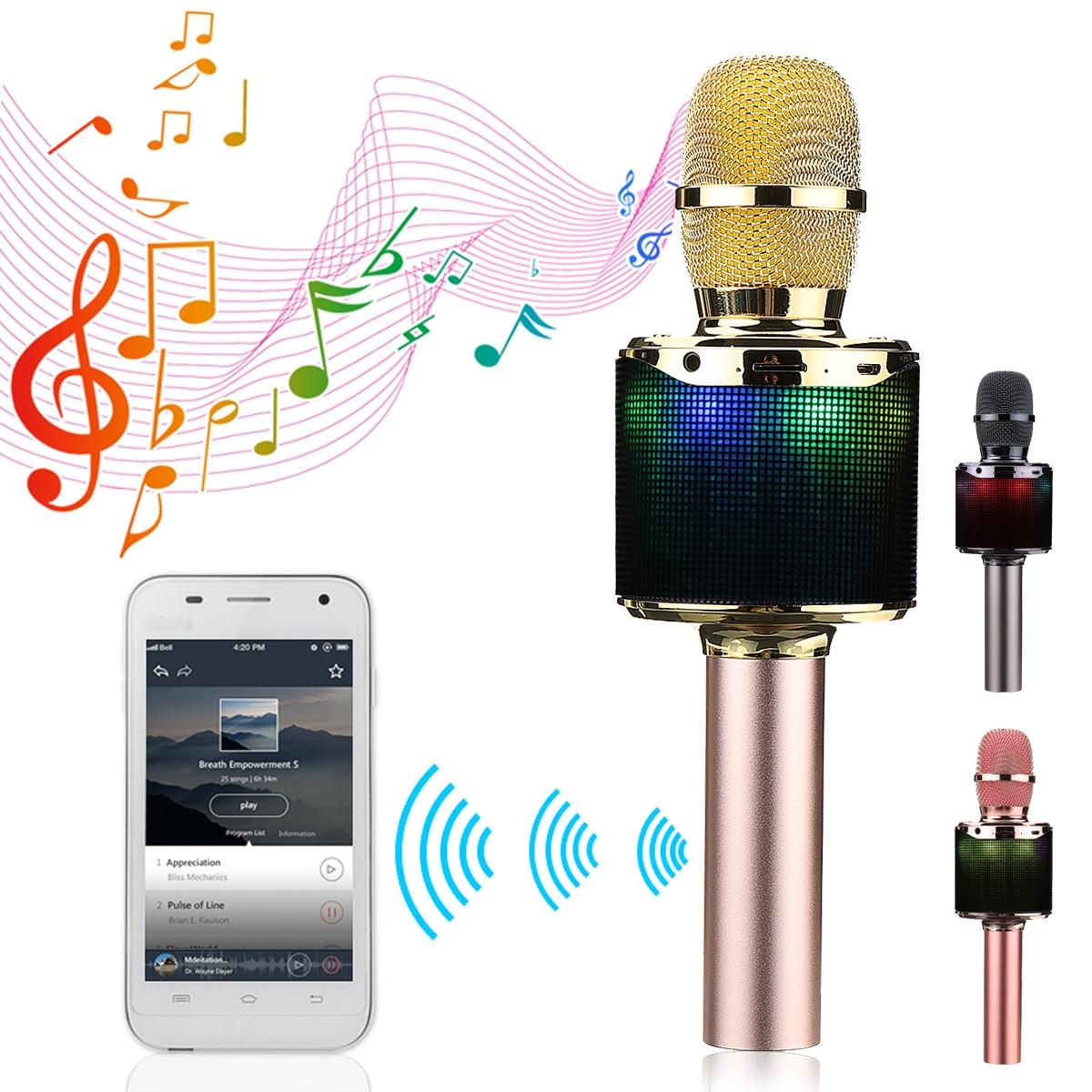 Wireless K318 Bluetooth Backlit Condenser Microphone KTV Karaoke Microphone USB Speaker Playe Mic Record Music Player цена 2017