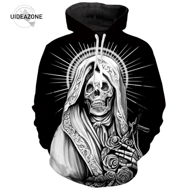 3D impreso similares Virgen María tatuajes cráneo Hoodies hombres mujeres  moda Otoño ropa deportiva Sudadera con 58afe28d3d0