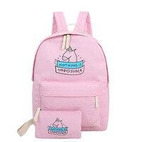 Women Canvas Backpack Cute Unicorn Cartoon Printing Bags Schoolbags For Teenage Girls