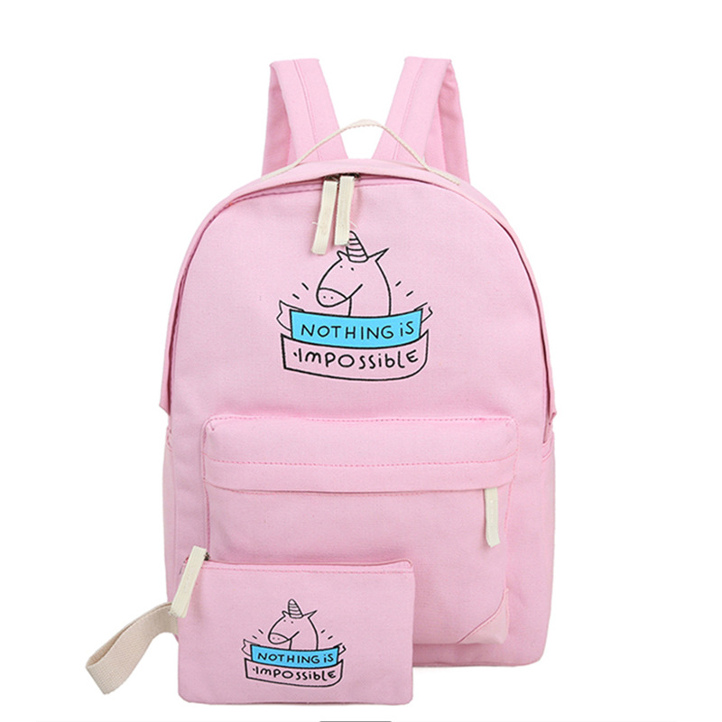 women canvas backpack cute unicorn cartoon printing bags schoolbags for teenage girls