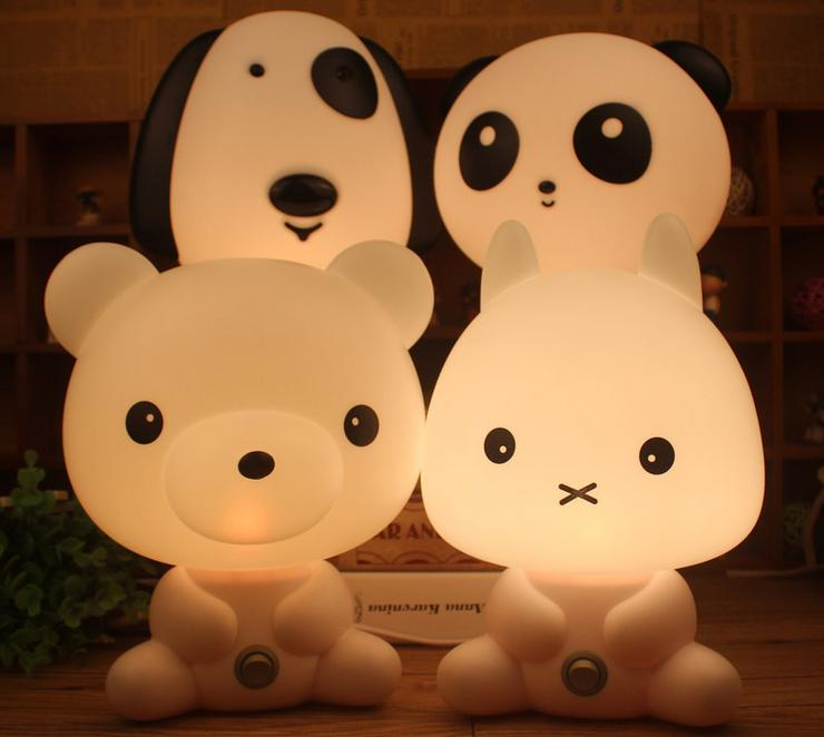 Desk Night Lights Baby Room Panda/Rabbit/Dog/Bear Cartoon Night Light Kids Bed Lamp Sleeping Night Lamp Table Lamp With Bulb beiaidi 7 color usb rechargeable rabbit led night light dimmable animal cartoon light with remote baby kids christmas gift lamp