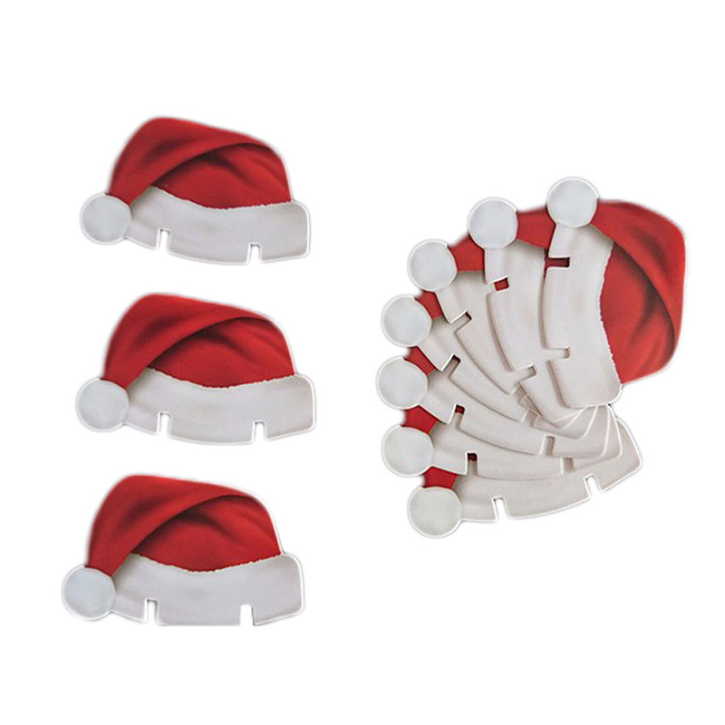 10Pcs/Lot Paper Red Christmas Hat Wine Champagne Tipple Cup Card Christmas Party Table Decor DIY Decorations Supplies