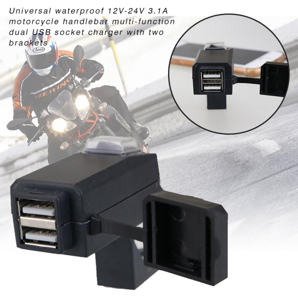 Waterproof 12V-24V 3.1A Motorcycle Handlebar Multi - Function Dual USB Socket Charger With Two Brackets Motorcycle Motorbike