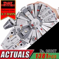 DHL LEPIN 05007 Star Series Building Blocks 1381pcs Toy Children War Awakens Millennium Falcon Brick Model