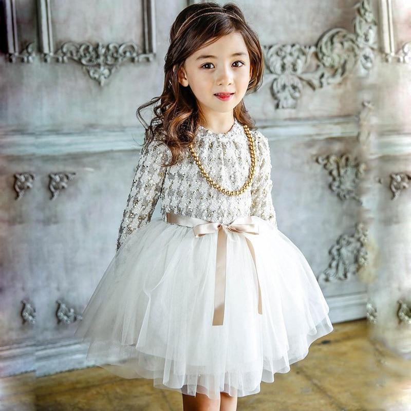 Girls Autumn Winter Cotton Korea Style Long Princess White Royal Blue Color Casual Party Dress Dresses Baby Kids Clothes