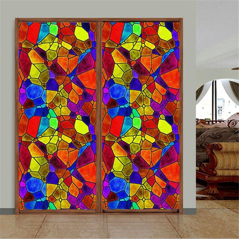 2019 1 M * 1 M mètre carré Givré verre intimité film pour vitre Adhésif En Relief autocollant de fenêtre décoration d'intérieur couleur mélangée