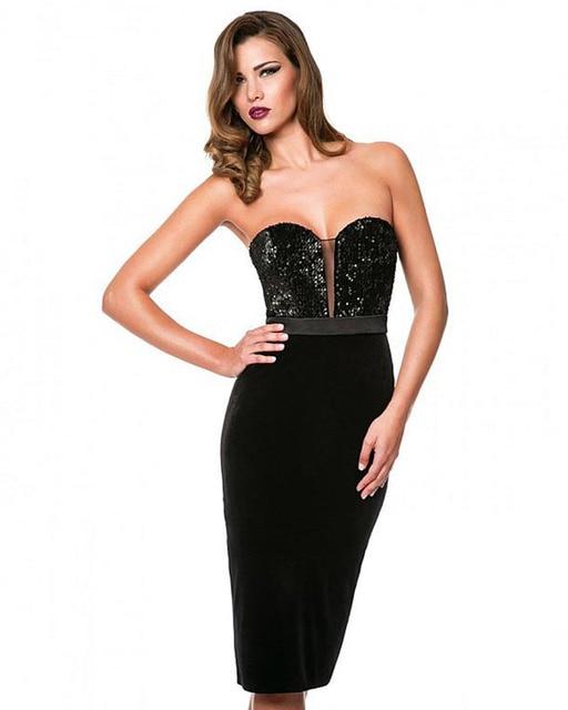 Joky Quaon Backless Sleeveless Knee-Length Straight Slim Up Black Satin Bling Sequined Cocktail Dresses 2017 Vestidos De Coctel