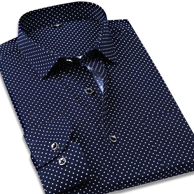 100% algodón hombres camisetas de la moda de lunares Casual hombres de negocios Shirts Camisa Masculina Social Formal hombre de manga larga camisas de vestir