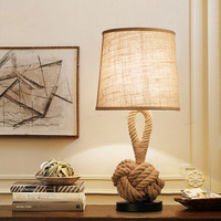 American table lamp retro rope cloth loft art bedside lamp bedroom study office cafe hotel restaurant bar light E27 desk light