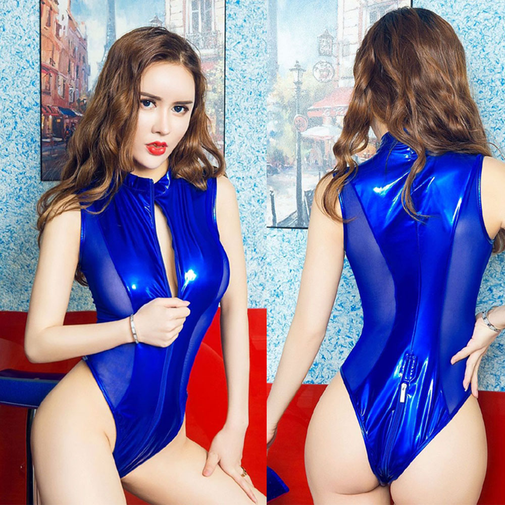 Wetlook <font><b>PVC</b></font> <font><b>Catsuit</b></font> <font><b>Sexy</b></font> Lingerie Zipper Open Crotch Bodysuit <font><b>Women</b></font> Lace Body <font><b>Sexy</b></font> Hot Erotic Babydoll Swimwear Pole Dance Wear image