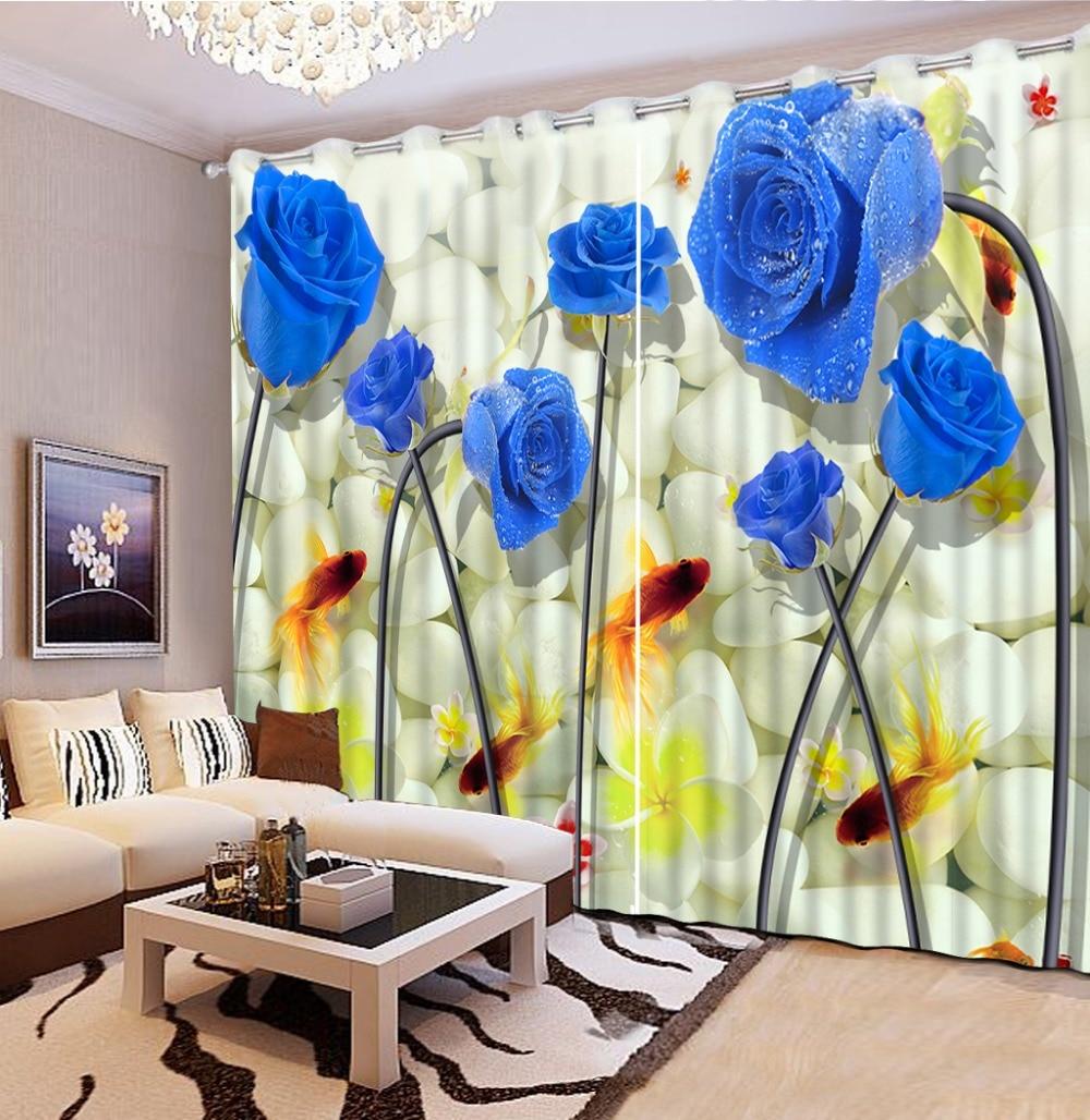 Home Decor Krásné fotografie tisk 3D závěsy květiny ryby modré růže závěsy pro okna obývací pokoj Vysoká kvalita