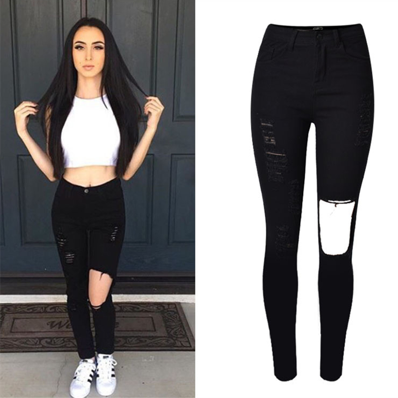 Unique Quality Spring 2016 New Fashion Slim Pants For Women Casual Blue Black